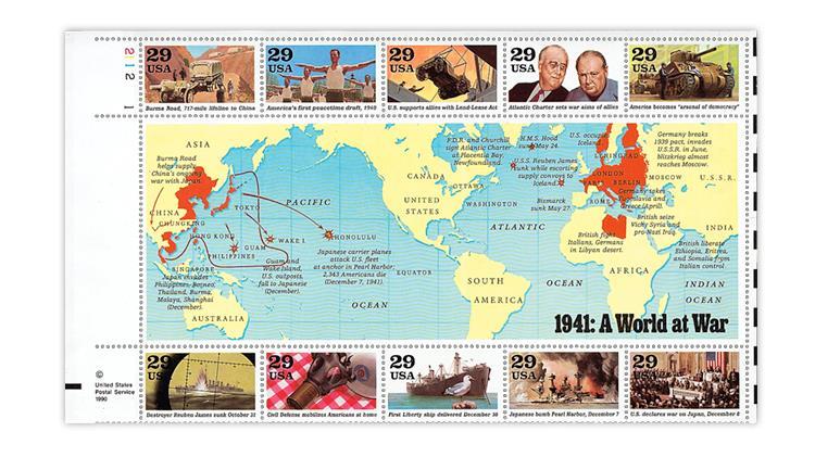 united-states-1991-world-war-ii-stamp-pane