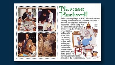 united-states-1994-norman-rockwell-souvenir-sheet