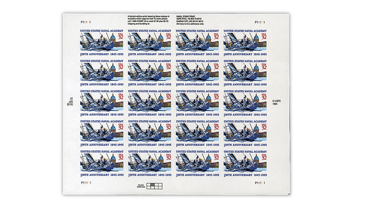 united-states-1995-naval-academy-imperforate-pane