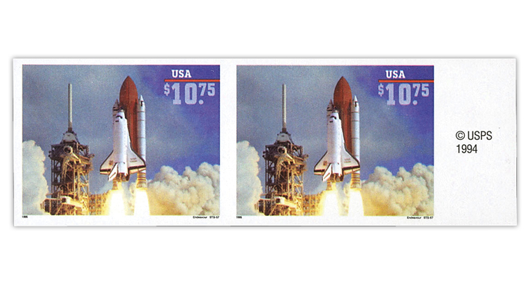 united-states-1995-space-shuttle-endeavour-imperforate-pair