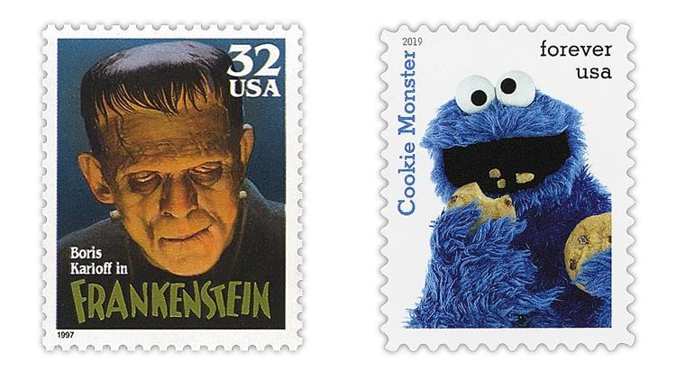 united-states-1997-Frankenstein-2019-cookie-monster-stamps