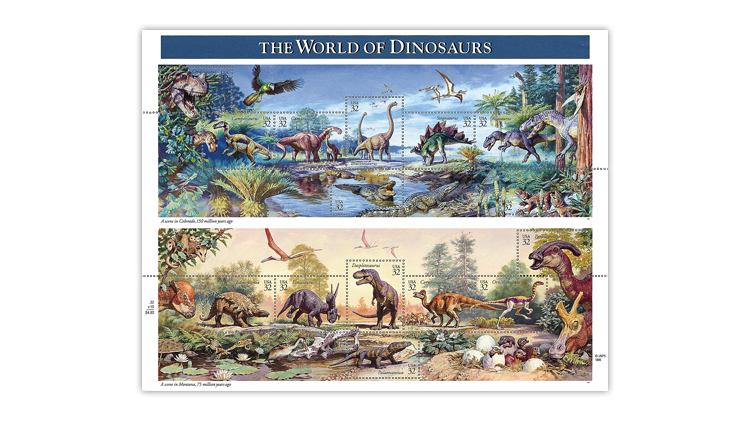united-states-1997-world-of-dinosaurs-stamps