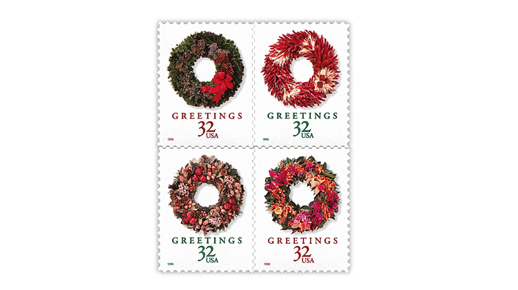 united-states-1998-christmas-wreaths-stamps