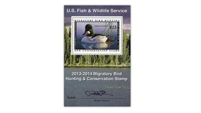 united-states-2013-signed-common-goldeneye-duck-stamp-souvenir-sheet