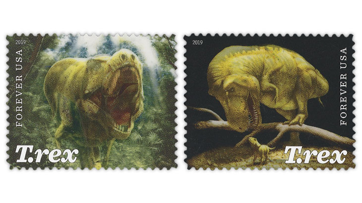 united-states-2019-tyrannosaurus-rex-stamps-lenticular-technology