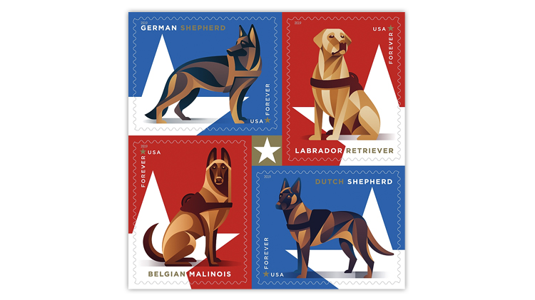 United States 2019 Working Dogs stamps