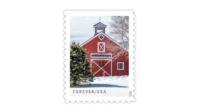 united-states-2020-red-barn-winter-scenes-stamp