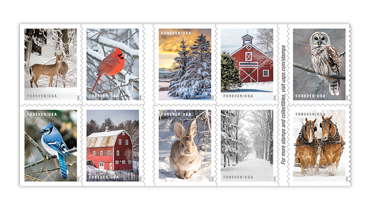 Usps 2020 Christmas Postal Service reveals 16 new stamps for winter mail and holidays