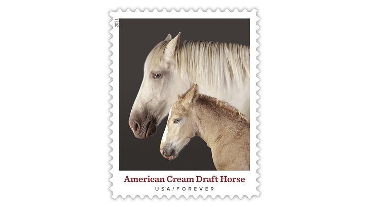 united-states-2021-heritage-breeds-american-cream-draft-horse-stamp