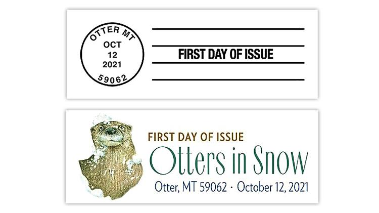 united-states-2021-otters-in-snow-stamps-first-day-cancels