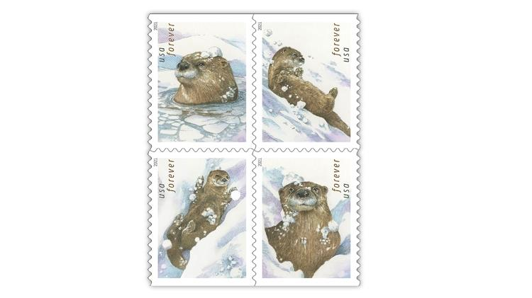united-states-2021-otters-in-snow-stamps