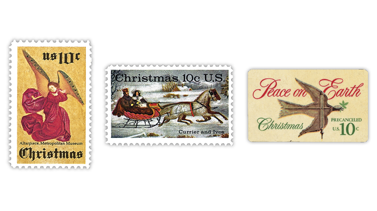 united-states-angel-currier-and-ives-dove-weather-vane-christmas-stamps