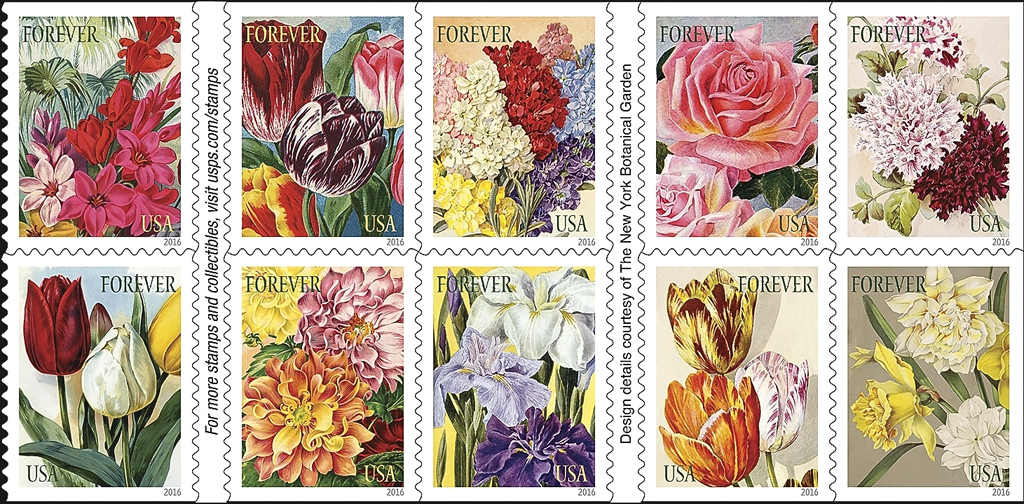 a set of 10 botanical art stamps will be issued in a double sided pane of 20 in 2016 the designs reproduce details of illustrations in vintage nursery