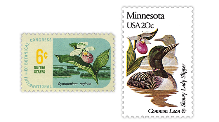 united-states-botanical-congress-minnesota-state-flower-orchid-stamps