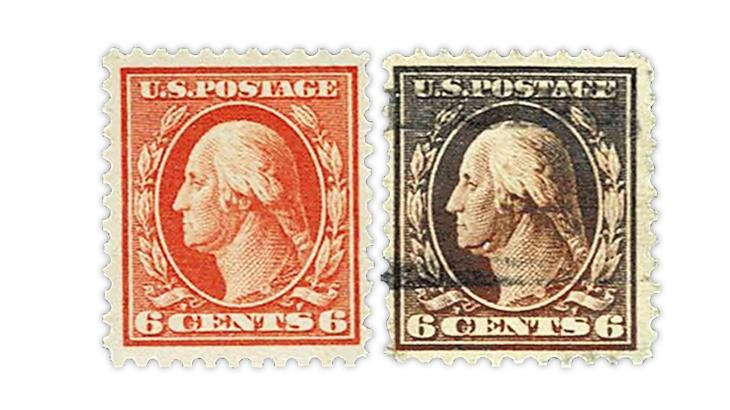 united-states-brown-washington-franklin-stamp