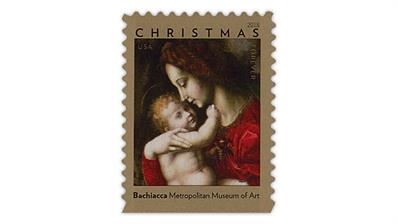 United States Christmas Madonna and Child by Bachiacca stamp