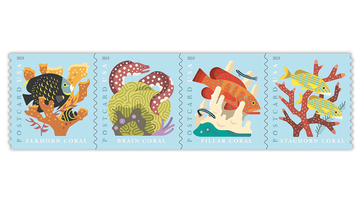 United States 2019 Coral Reef postcard stamps