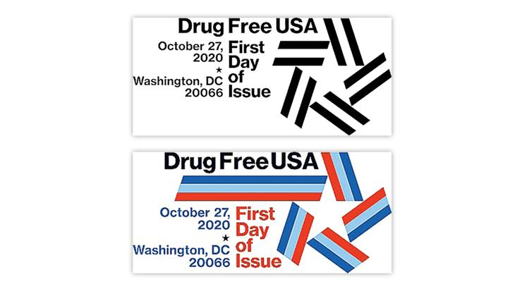 united-states-drug-free-usa-stamp-first-day-postmarks
