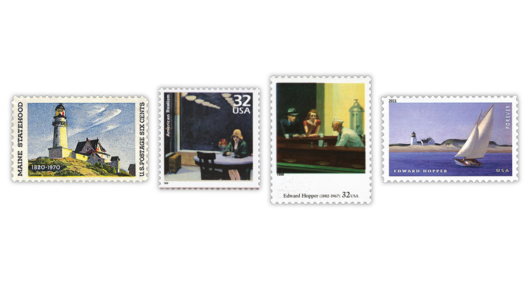 united-states-edward-hopper-paintings-stamps