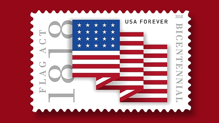 June 9 U S Commemorative Stamp Honors Flag Act Of 1818