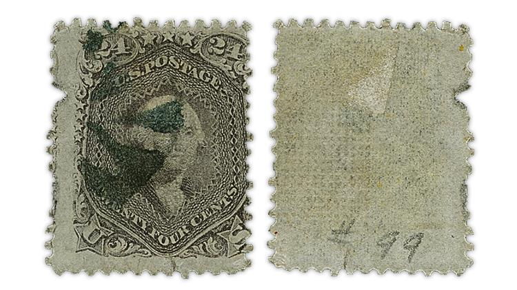 united-states-george-washington-grilled-stamp-damaged