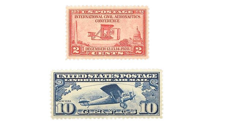 united-states-orville-wright-charles-lindbergh-stamps