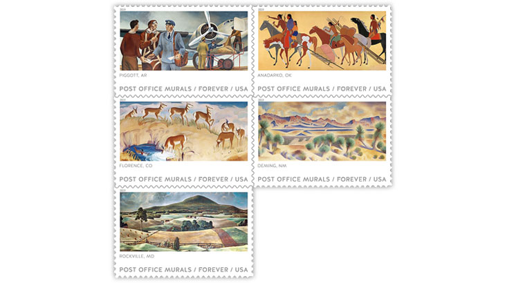 United States Post Office Murals stamps