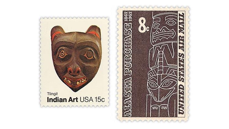 united-states-tlingit-mask-totem-pole-stamps