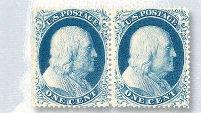 unused-pair-blue-benjamin-franklin-perforated-issue