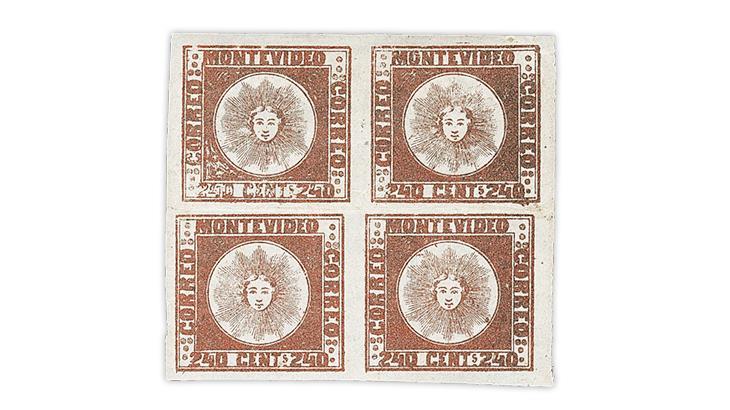 uruguay-1858-brown-red-stamp-block-gordon-john-collection