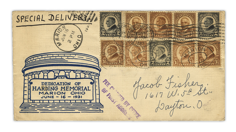 us-stamp-notes-1931-harding-memorial-cover
