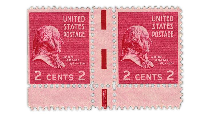 us-stamp-notes-1938-john-adams-prexie-pair