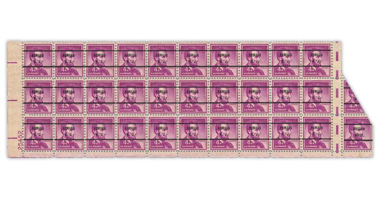 us-stamp-notes-1954-abraham-lincoln-precancel-block