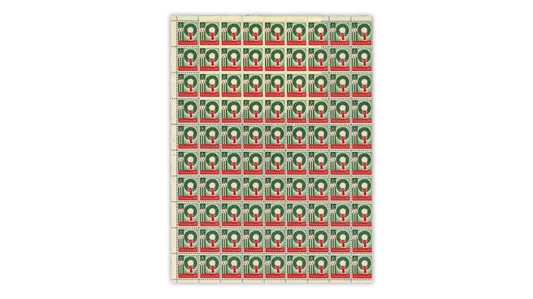 US Stamp Notes 1962 Christmas stamp pane of 90