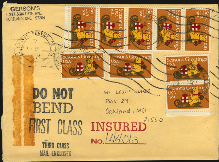 us-stamp-notes-1981-insured-cover-christmas-bear-sleigh