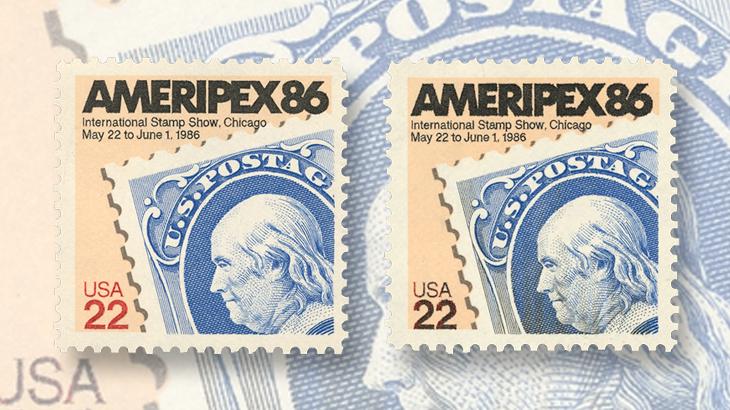 us-stamp-notes-ameripex-86-denomination-color-change