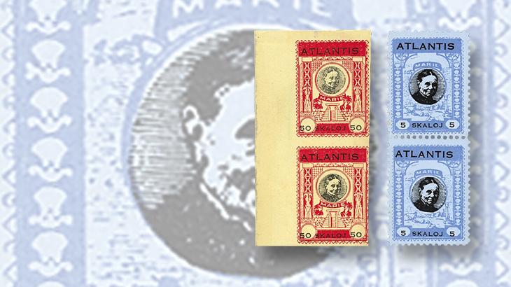 us-stamp-notes-atlantis-labels-cinderellas