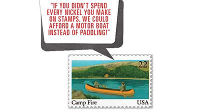 us-stamp-notes-camp-fire
