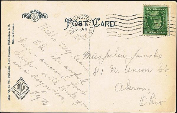 us-stamp-notes-expertize-washington-franklin-bluish-paper-postcard