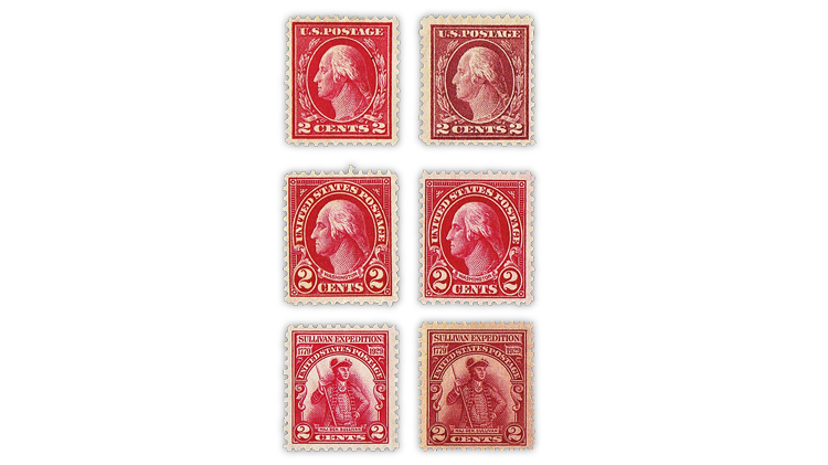 us-stamp-notes-expertizing-carmine-lake-stamps