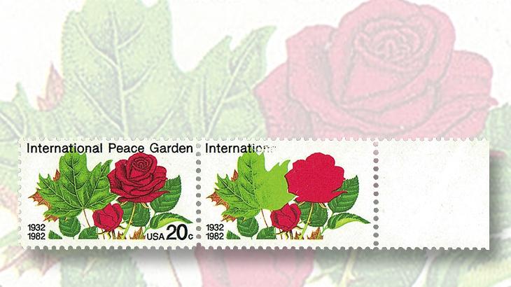 us-stamp-notes-expertizing-international-peace-garden