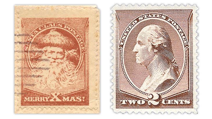 Fantasy stamp and U.S. 1882 George Washington stamp