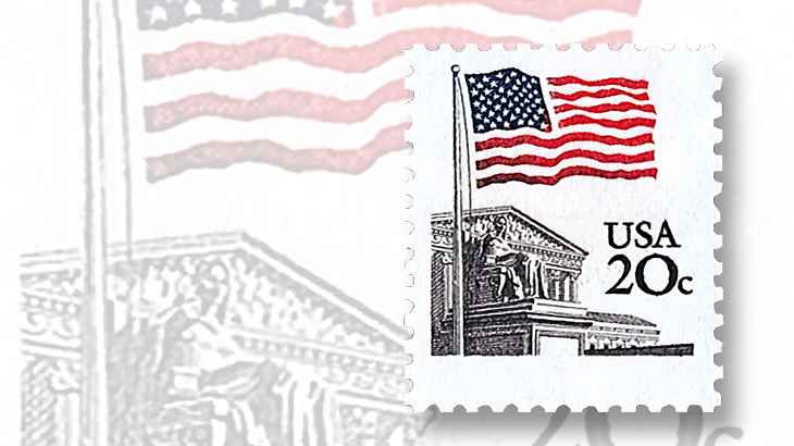 us-stamp-notes-flag-over-supreme-court-genuine