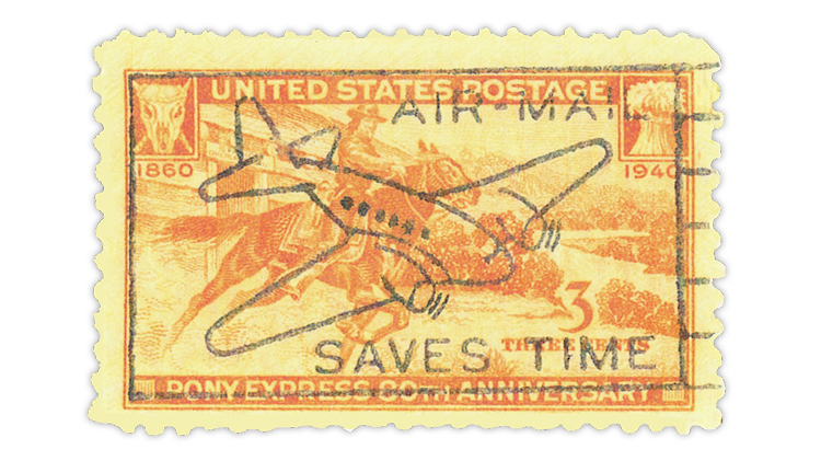 us-stamp-notes-horse-rider-stamp-airmail-cancel