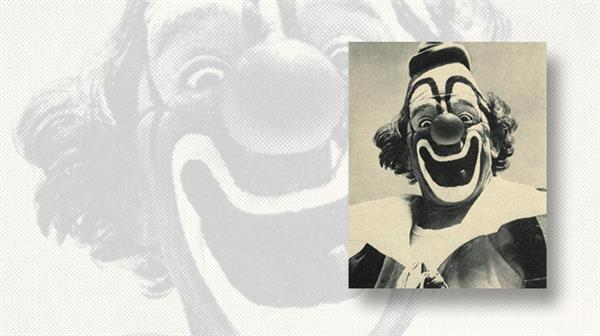 us-stamp-notes-lou-jacobs-professional-clown-photo