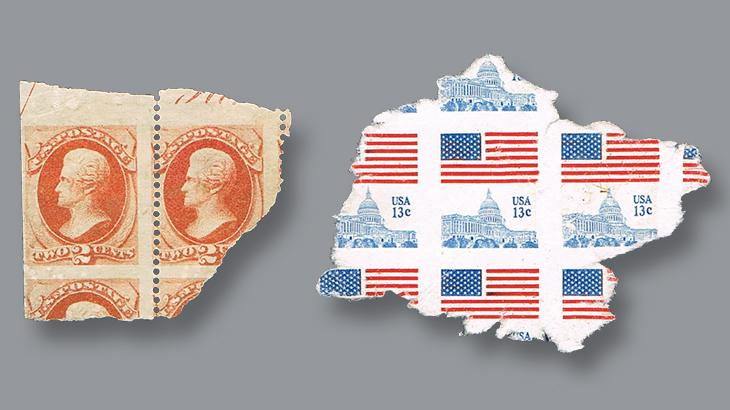 us-stamp-notes-torn-blocks-stamps