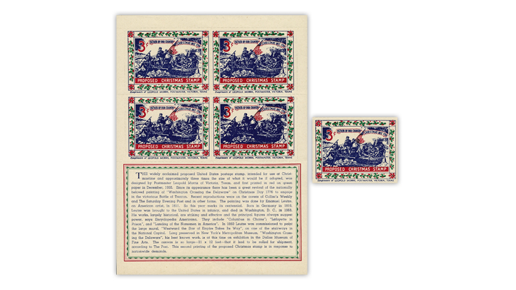 US Stamp Notes Washington crossing the Delaware River proposed Christmas stamp