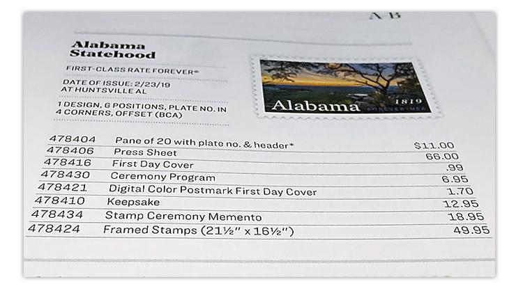 usa-philatelic-catalog-alabama-statehood-pane