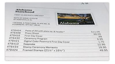 usa-philatelic-catalog-alabama-statehood-pane