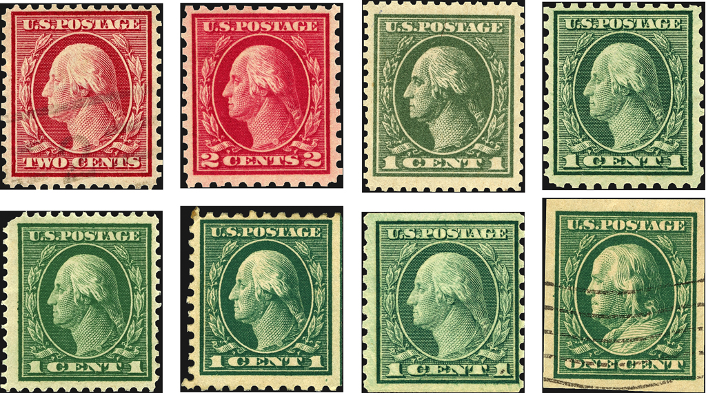 This Selection Of 1908 22 Third Bureau Issue Stamps Also Known As The Washington Franklins Poses Many Questions When It Comes To Stamp Identification